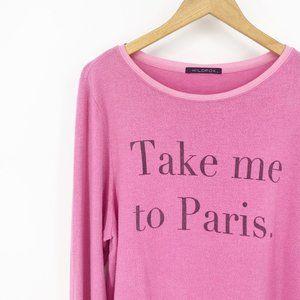 Wildfox : Pink 'Take Me to Paris' Pullover Size L
